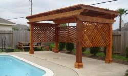 Large Wood Arbor Pergola in Houston Backyard