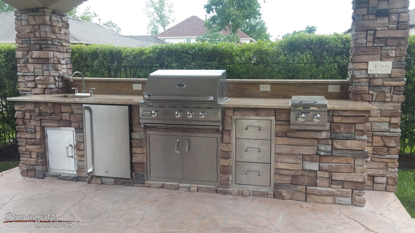 Outdoor Kitchen Fireplace Sugar Land Outdoor Kitchens Fireplaces Stonecraft Builders